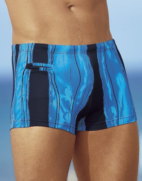 d9e18bba0c2122 Bademode - Badehose in Kastenform mit Reißverschlusstasche, in Größe 005  bis 013, in Farbe