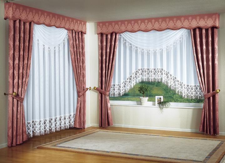 jacquard bergardinen garnitur in verschiedenen farben. Black Bedroom Furniture Sets. Home Design Ideas