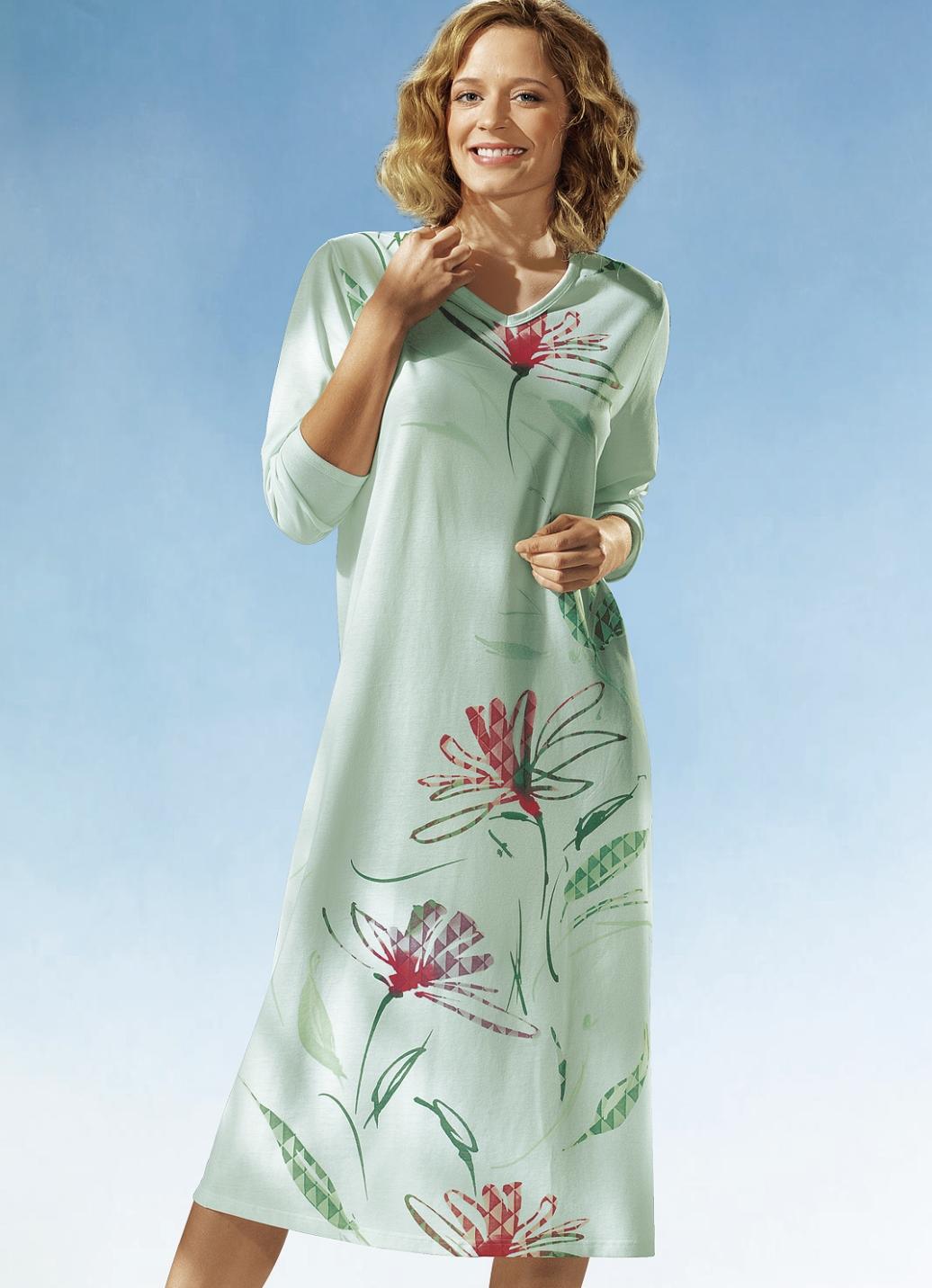 nachthemd in 2 farben langarm mit v ausschnitt damen bader. Black Bedroom Furniture Sets. Home Design Ideas