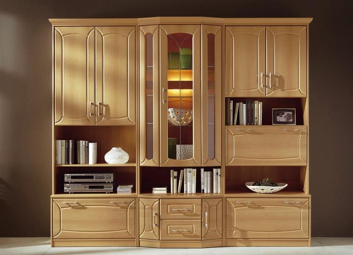 klassische wohnwand mit front in buchedekor klassische m bel bader. Black Bedroom Furniture Sets. Home Design Ideas