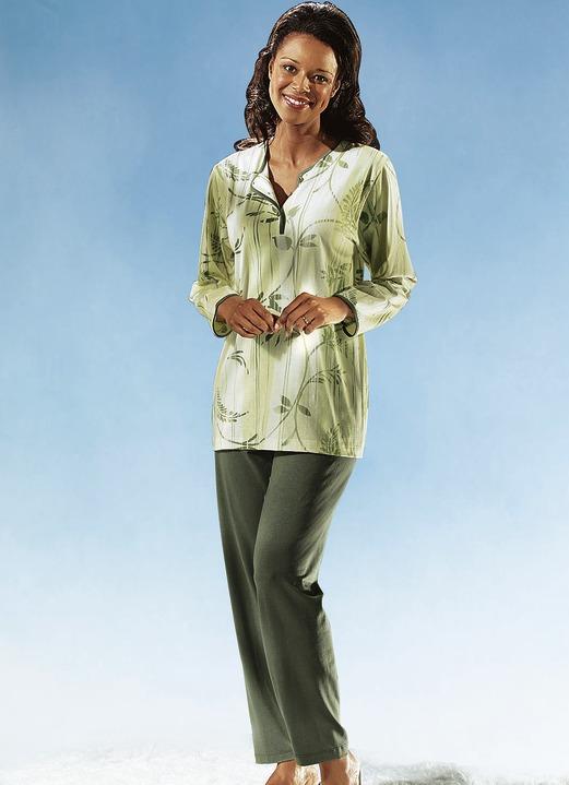 schlafanzug langarm mit knopfleiste nachtw sche bader. Black Bedroom Furniture Sets. Home Design Ideas