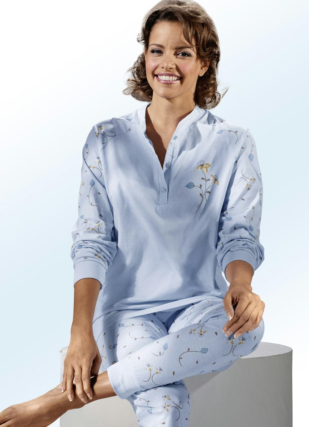 schlafanzug langarm mit knopfleiste und b ndchen nachtw sche bader. Black Bedroom Furniture Sets. Home Design Ideas