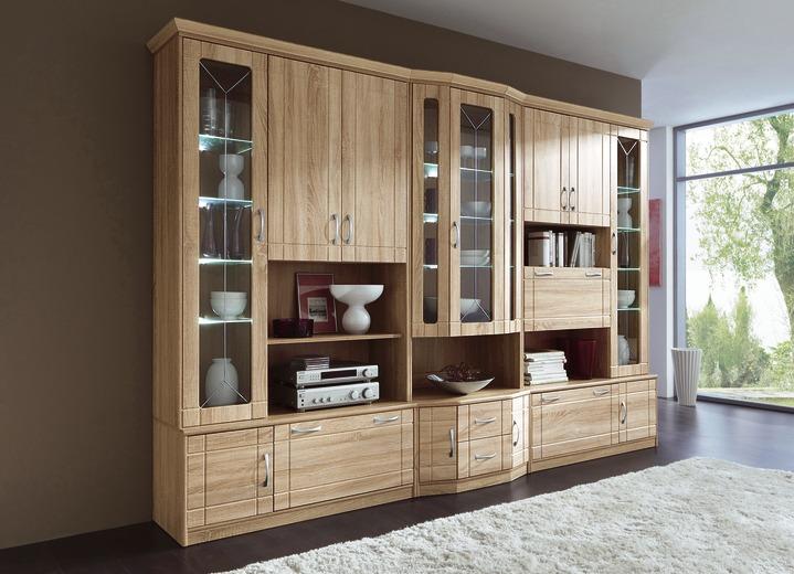 Klassische Möbel   Wohnwand Mit LED Beleuchtung , In Farbe EICHE SONOMA