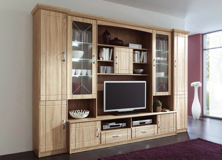 wohnwand in eiche sonoma dekor klassische m bel bader. Black Bedroom Furniture Sets. Home Design Ideas