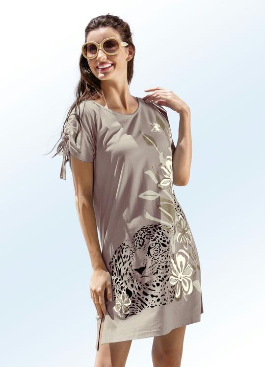 Strandkleider - Strandshirt mit platziertem Druckdessin , in Größe 038 bis  060, in Farbe TAUPE a996893129