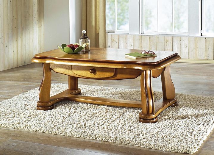 Couchtisch aus massivem Eichenholzgestell - Eiche Rustikal-Möbel | BADER