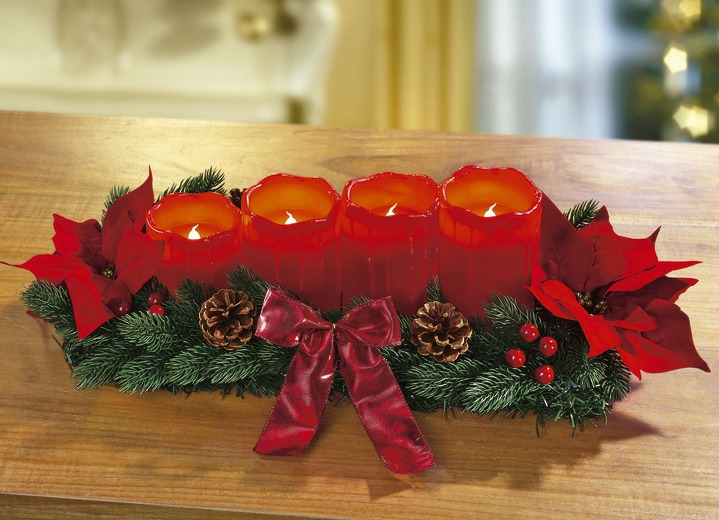 - Adventsgesteck, in Farbe ROT Ansicht 1