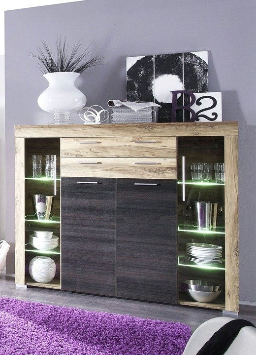 Sideboards - Highboard mit LED-Beleuchtung, in Farbe NUSSB.-SATIN-DK