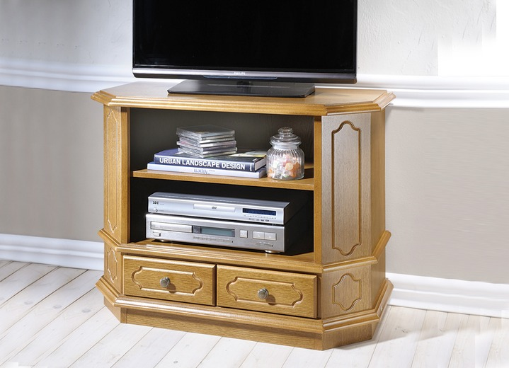 trapezf rmige tv phono kommode eiche rustikal m bel bader. Black Bedroom Furniture Sets. Home Design Ideas