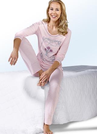 schlafanzug langarm mit rundhals nachtw sche bader. Black Bedroom Furniture Sets. Home Design Ideas