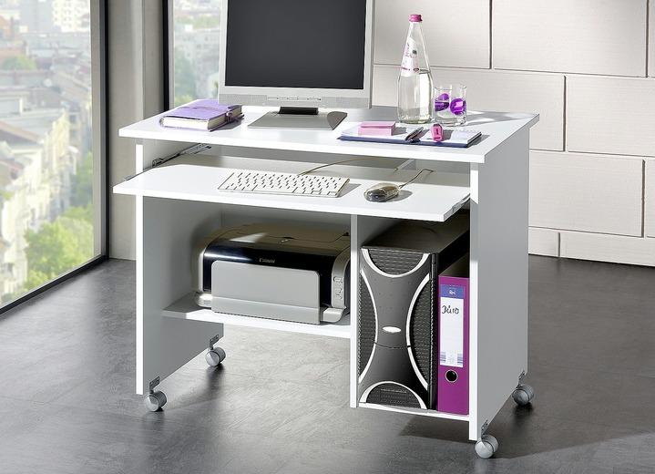 computer tisch ba 1 4 romabel computertisch in verschiedenen farben farbe weiss ansicht mit rollen