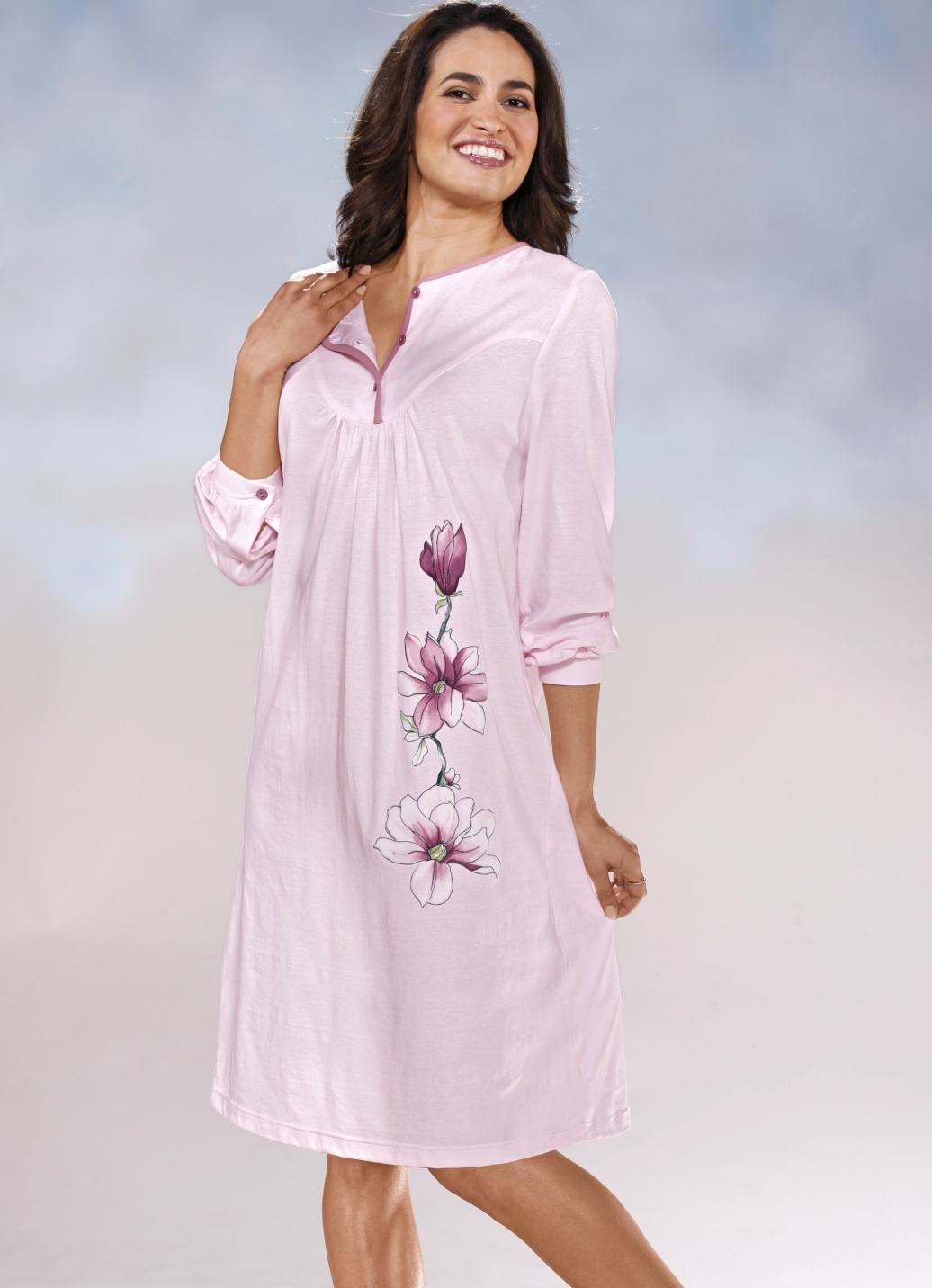 zweierpack nachthemden langarm mit knopfleiste und b ndchen damen bader. Black Bedroom Furniture Sets. Home Design Ideas