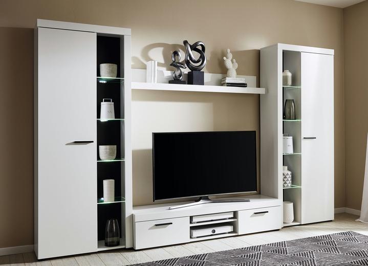 wohnwand in verschiedenen farben mit led beleuchtung. Black Bedroom Furniture Sets. Home Design Ideas
