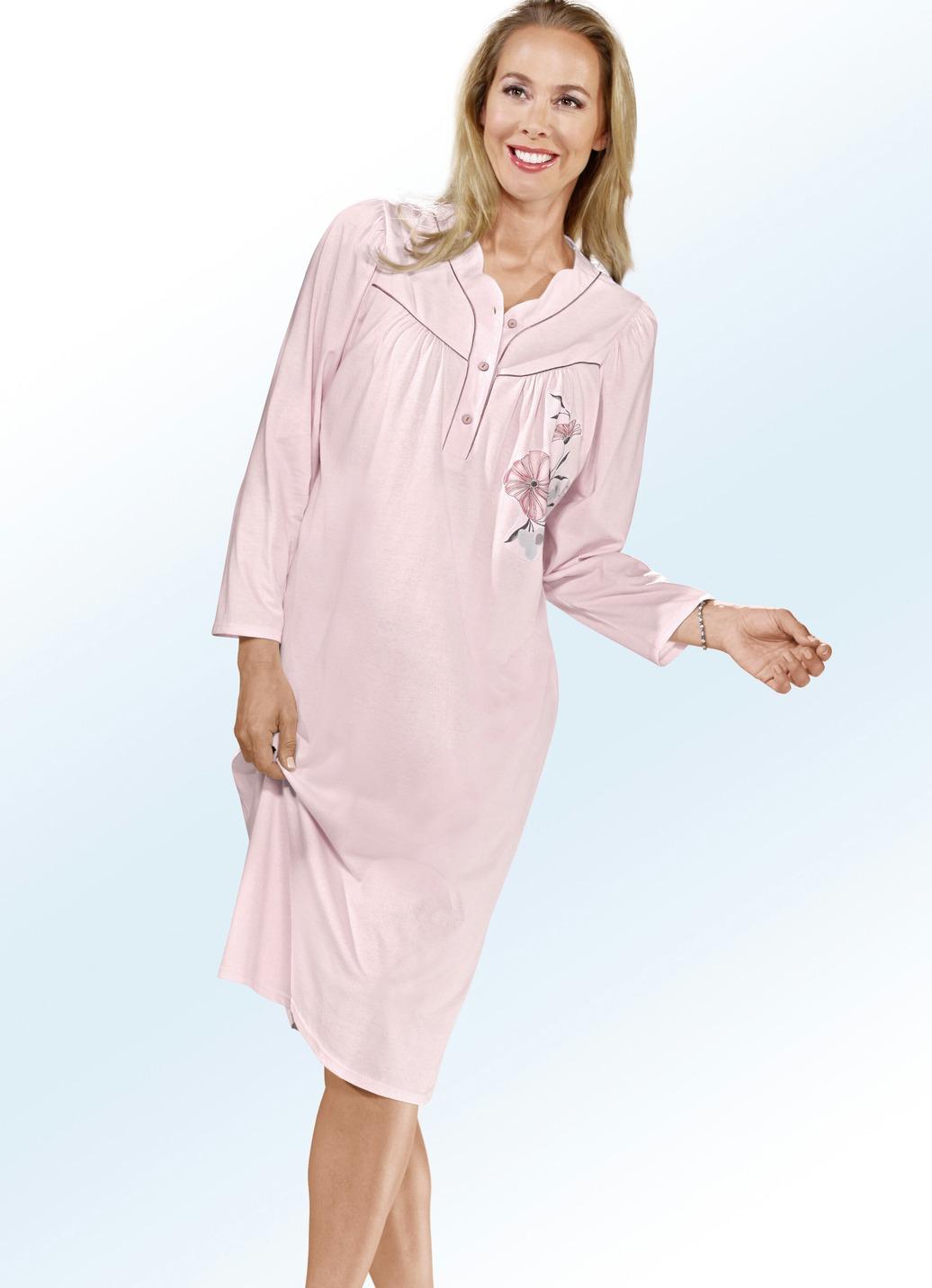 nachthemd in 2 farben langarm mit knopfleiste damen bader. Black Bedroom Furniture Sets. Home Design Ideas