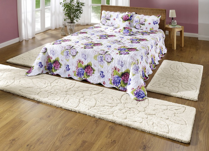 bettumrandung 3 teilig mit blumen dessin teppiche bader. Black Bedroom Furniture Sets. Home Design Ideas