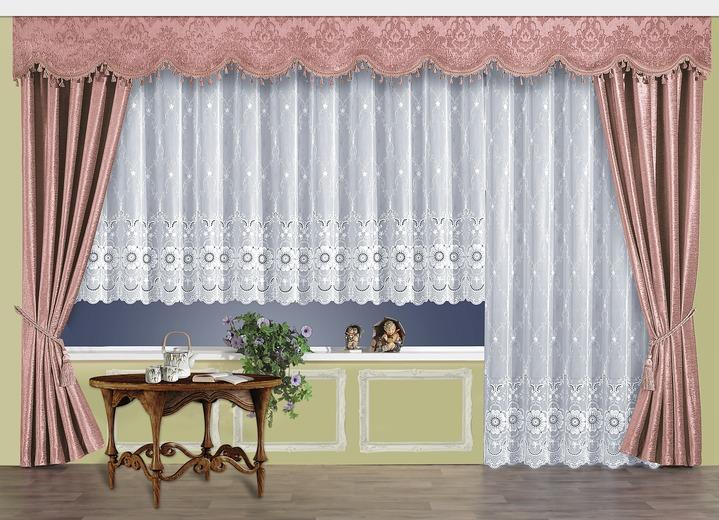schabracke mit bommelborte gardinen bader. Black Bedroom Furniture Sets. Home Design Ideas