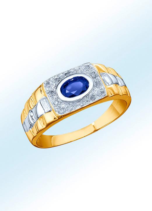 f4e54b9c9c Ringe - Partnerring mit echtem Safir und Diamanten, in Größe 16.0 bis 24.0,  in