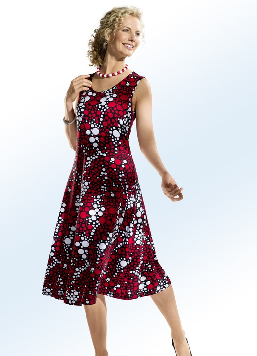 Kleid mit faszinierendem tupfen dessin gro e gr en bader - Bader festliche kleider ...