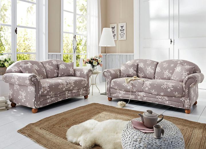 Polstergruppen   Romantisch Blumige Polstermöbel, Verschiedene  Ausführungen, In Farbe BRAUN BEIGE,