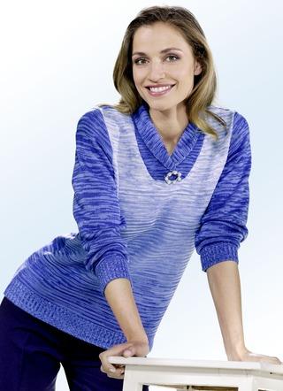 pullover aus melangegarn mit farbverlauf pullover strickmode bader. Black Bedroom Furniture Sets. Home Design Ideas