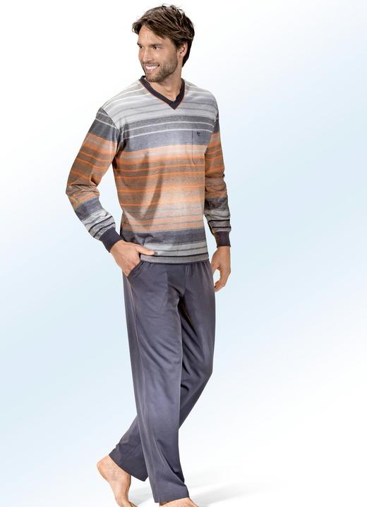 best service 9b0a6 976be Hajo Klima Komfort Schlafanzug mit V-Ausschnitt, Brusttasche und  garngefärbtem Ringeldessin