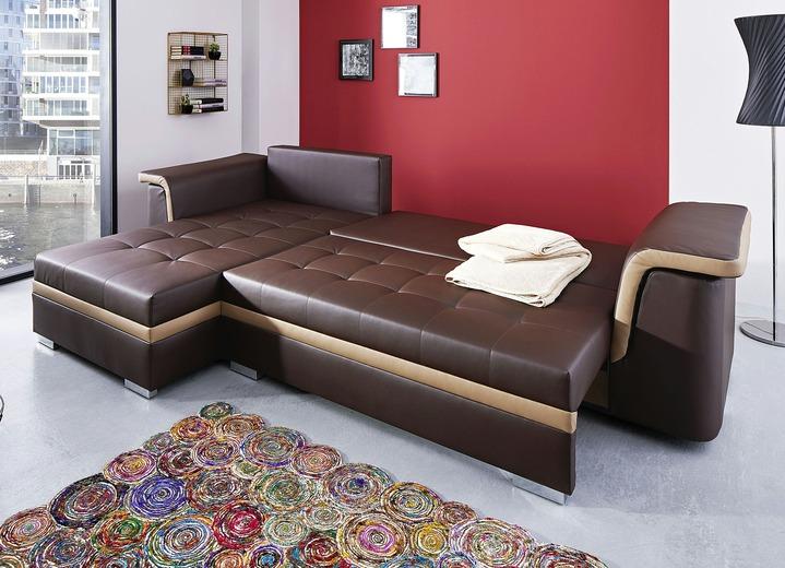 Polsterecken   Polsterecke Mit Bettfunktion, In Verschiedenen Farben, In Farbe  BRAUN BEIGE Ansicht