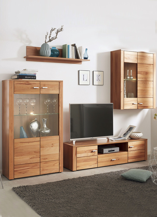 wohnwand mit glasb den mit led beleuchtung wohnw nde bader. Black Bedroom Furniture Sets. Home Design Ideas