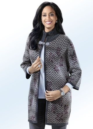 Long-Strickjacke in Jacquard-Dessin