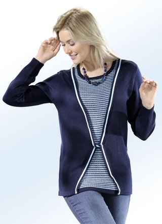 Pullover in 2 Farben mit Baumwolle in Twinset-Optik