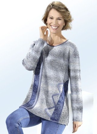 Pullover in Materialmix