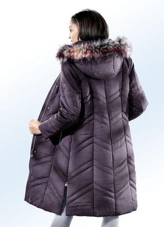 db55a4e1b42f18 Mantel mit abnehmbarem Kunstpelz-Besatz