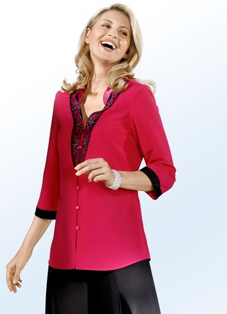 Party-Bluse mit schwarzen Applikationen