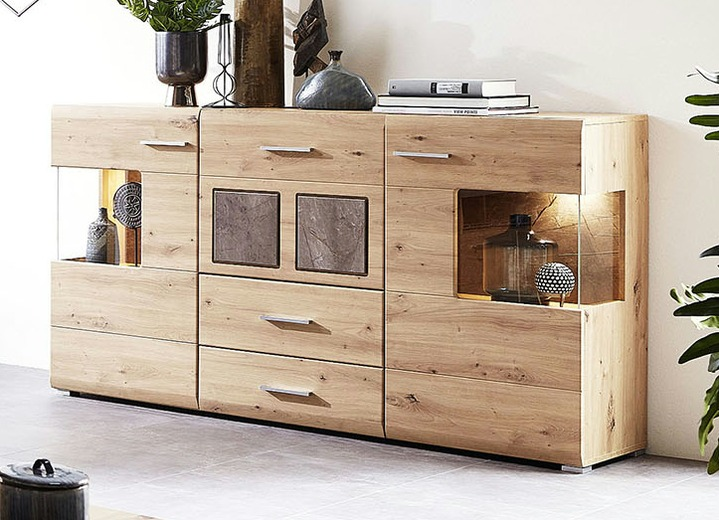 Sideboards - Sideboard, 2-türig, mit warmweißer LED-Beleuchtung, in Farbe EICHE-MARMOR