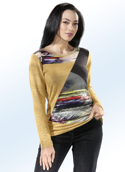 Langarm - Pullover in Materialmix, in Größe 040 bis 060, in Farbe SAFRAN-GRAFIT-MULTICOLOR