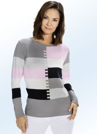 Pullover in Color-Blocking mit Strasszier
