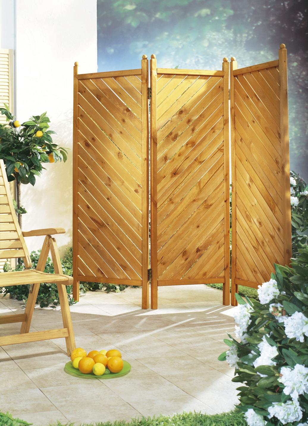paravent aus massiver kiefer oder fichte sichtschutz und sonnenschutz bader. Black Bedroom Furniture Sets. Home Design Ideas