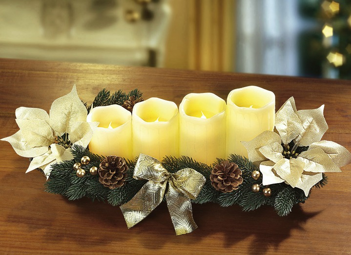 - Adventsgesteck, in Farbe CREME