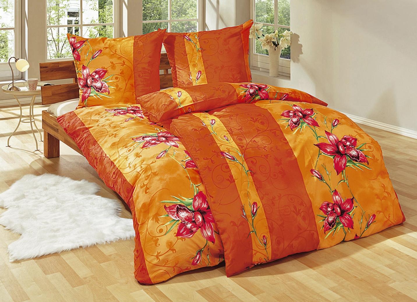Bettwäsche-Garnitur, 6-teilig, verschiedene Farben - Bettwäsche  BADER