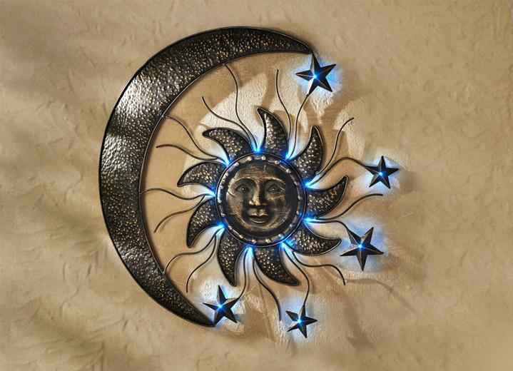 Solar wanddeko sonne und mond leuchtende dekoration for Wanddeko kupfer