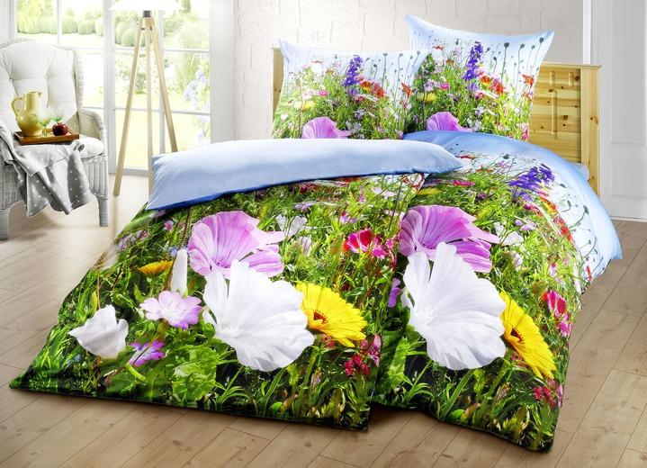 Bettwäsche Garnitur Mit Naturalistischem Blumen Dessin Bettwäsche