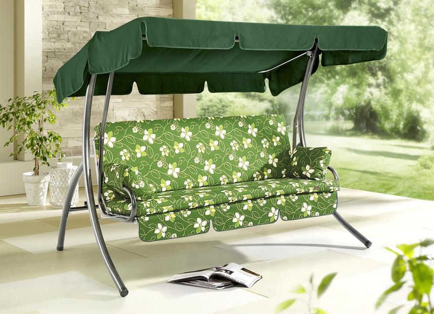 schaukel 3 sitzer dessin gr n mit bl ten rosamunde produkte f r gartenfreunde bader. Black Bedroom Furniture Sets. Home Design Ideas
