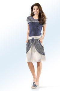 Apartes Leinen-Kleid in Jeansblau-Leinen, mit rundem Halsausschnitt - Natürliche Materialien Kleidung