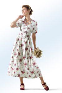 Zauberhaftes Landhauskleid aus Baumwolle in Ecru-Lindgrün-Kirschrot-Rosé - Natürliche Materialien Kleidung