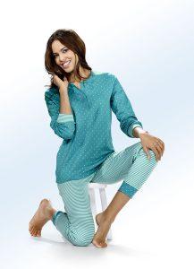 Interlock Schlafanzug, Langarm mit Knopfleiste und Bündchen