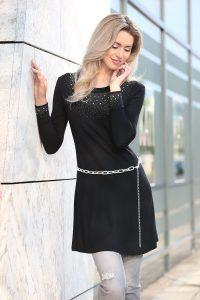 Attraktives Longshirt mit Strasszier - Modetrends Herbst Winter 2017/18