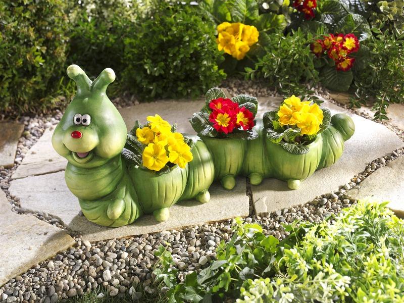 """Blumentopf """"Raupe"""" - Garten im Frühling"""