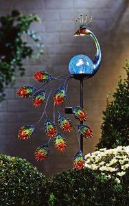 """Solarstecker """"Pfau"""" - Garten im Frühling"""