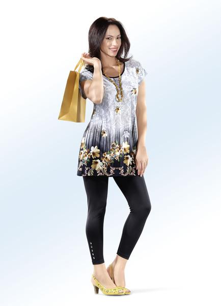Longshirt mit paspeliertem, runden Halsausschnitt - Mode für Mollige