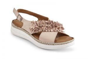 Sandalette in 2 Farben mit Lederblüten - Strandbekleidung