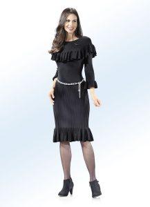 Strick-Kleid mit extravaganten Volants - Modetrends Herbst Winter 2017/18